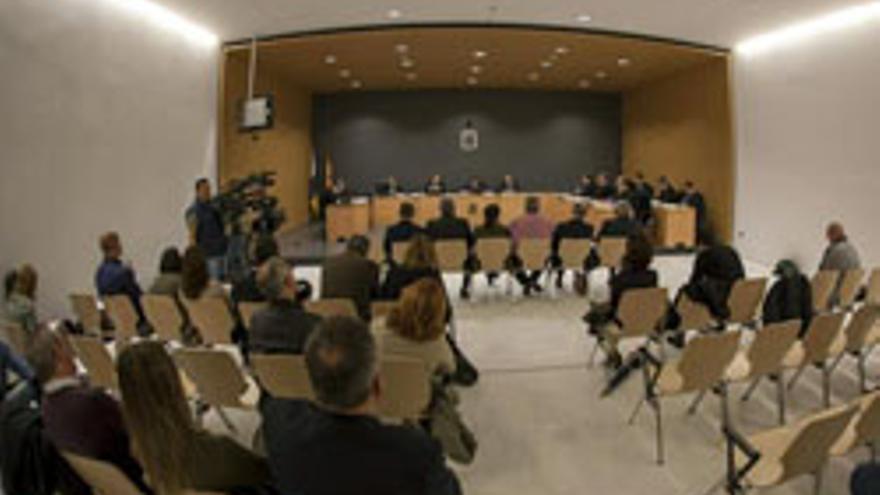 La nueva sala de vistas del TSJC, en el primer día del juicio del Caso Europa.