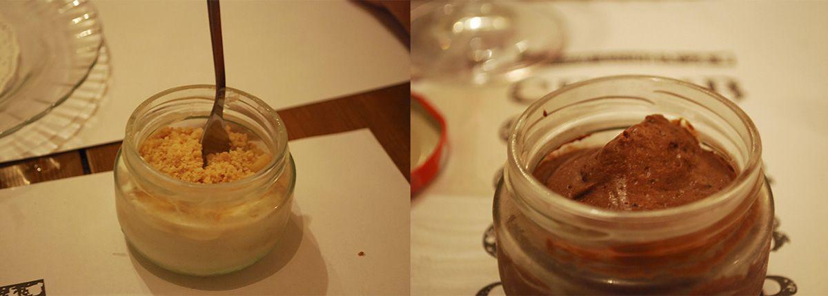 Díptico mousse de chocolate y crumble de manzana