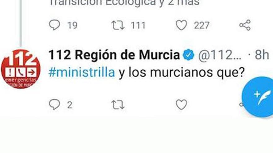 El tuit eliminado del 112 de Murcia dirigido a la ministra de Transición Ecológica, Teresa Ribera