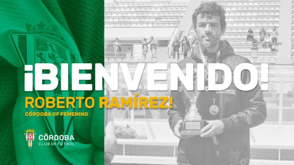 Cartel del fichaje de Roberto Ramírez como técnico del Córdoba Femenino.
