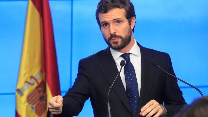 El líder del PP, Pablo Casado, comparece este lunes en la sede de la calle Génova para hacer balance del año político.