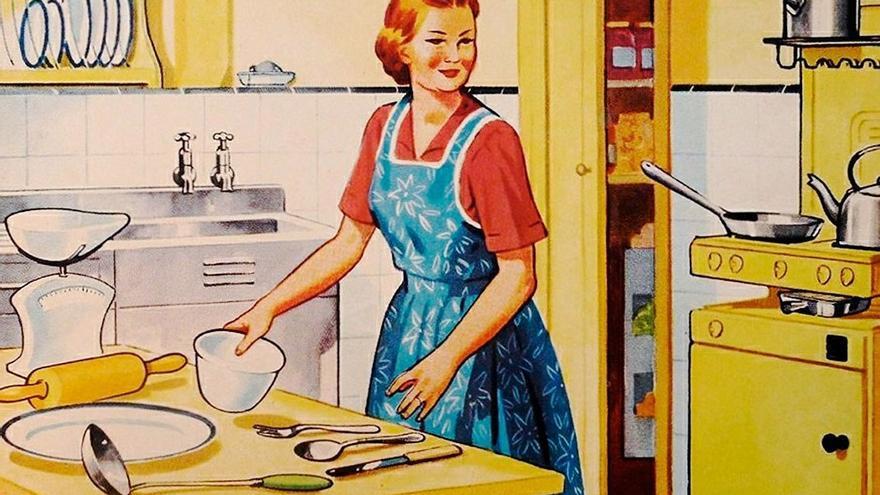 Ilustración vintage muestra a una ama de casa que realiza labores domésticas. (DP).