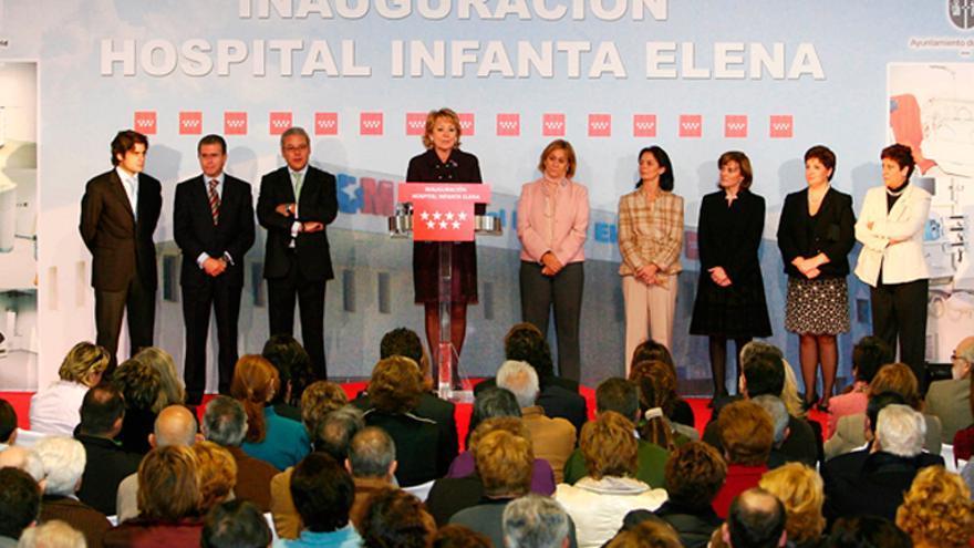 Esperanza Aguirre, en la inauguración del Hospital Infanta Elena de Valdemoro en noviembre de 2007. Foto: Comunidad de Madrid