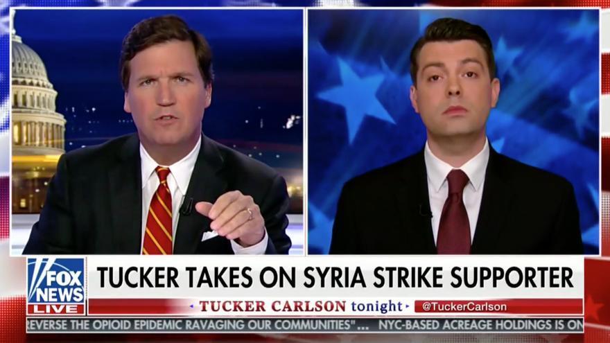 El presentador de Fox News Tucker Carlson se ha convertido en un crítico de la intervención en Siria.