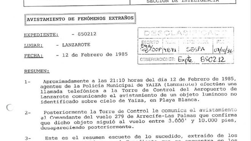 Expediente desclasificado por el Ministerio de Defensa.