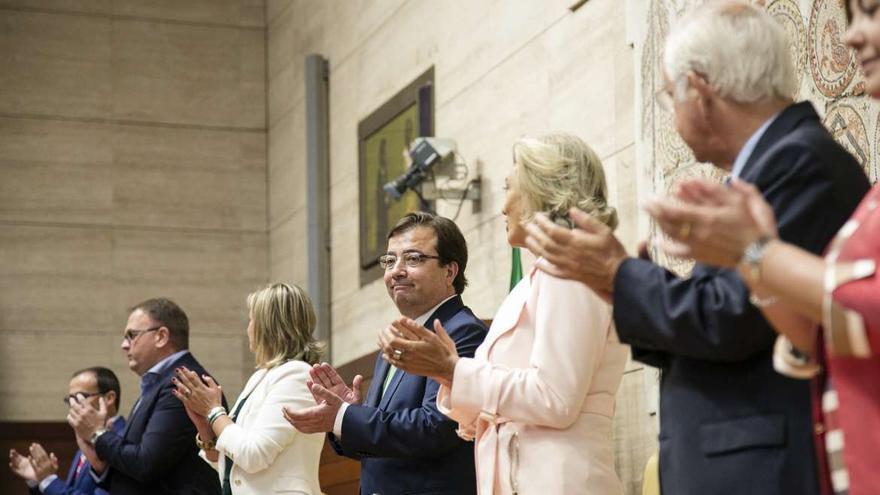 El presidente extremeño, Guillermo Fernández Vara, durante el acto del Día de Extremadura