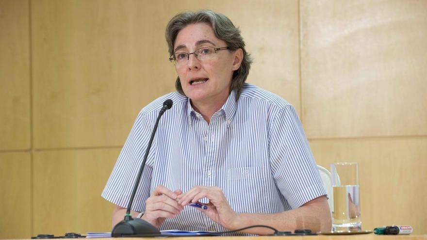 La primera teniente de alcalde, Marta Higueras, durante la rueda de prensa.