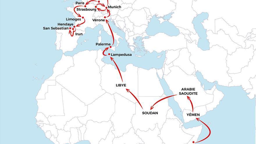 Mapa que muestra la ruta migratoria hacia Europa