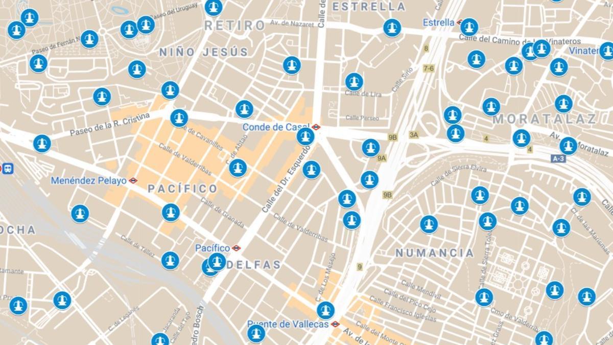 Detalle del mapa de fuentes de Madrid