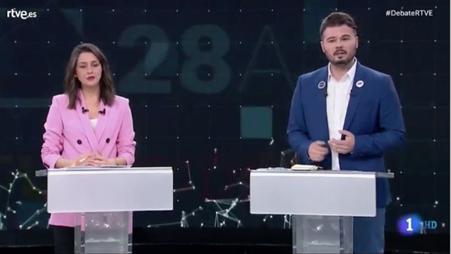 Inés Arrimadas y Gabriel Rufián en el debate a seis de RTVE.