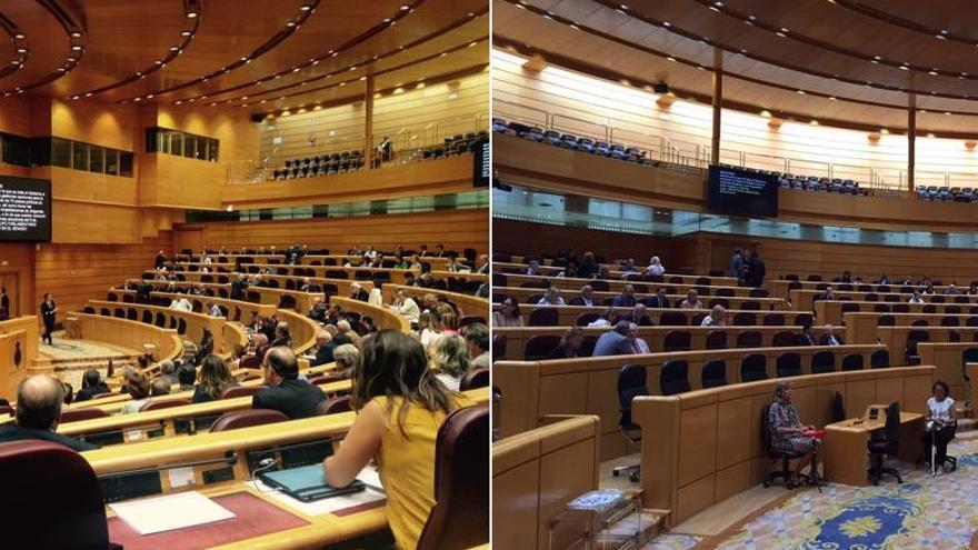 Senado lleno; Senado vacío / Twitter: Mayte Otero, Ramón Espinar