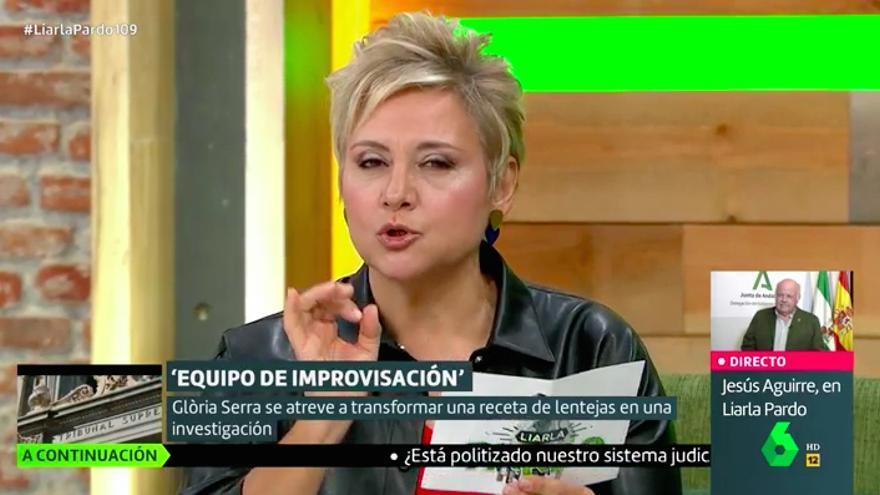Gloria Serra leyendo la receta de lentejas con su icónico tono