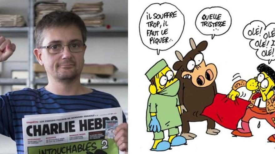El dibujante Charb, editor de 'Charlie Hebdo', y una de sus viñetas antitaurinas