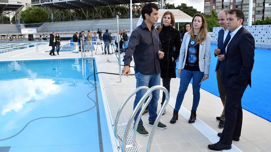 El alcalde, José Manuel Bermúdez, durante su visita este jueves a la instalación deportiva