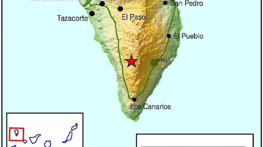 Mapa del IGN del punto donde se ha registrado este sábado el terremoto de 2,7.