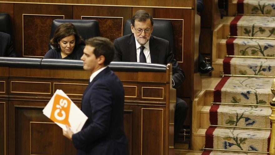 Rajoy, Sáenz de Santamaría y Rivera, en el Pleno del Congreso