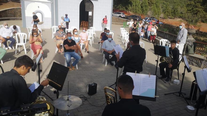 Un momento del concierto del Sexteto de Metales del Aula Municipal de Música de El Paso celebrado en el marco de las Fiestas del Pino 2020