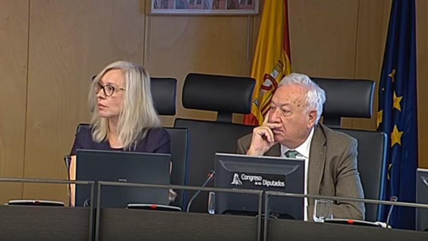 Mira Milosevich-Juarist y José Manuel García-Margallo, durante la Comisión Mixta de Seguridad Nacional.