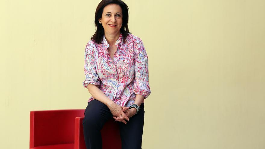Margarita Robles en la sede del PSOE en Ferraz