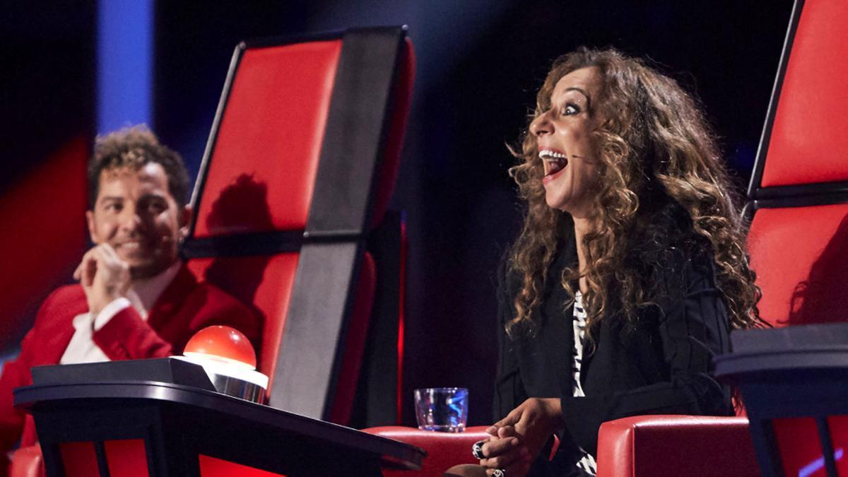 Rosario Flores, con cara de sorpresa en la semifinal de 'La Voz Kids'