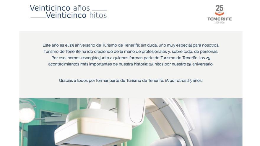 Pantallazo de la web de Turismo de Tenerife.