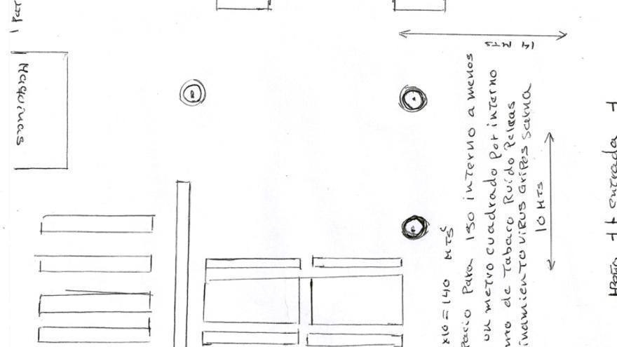Plano del CIE de Aluche esbozado por uno de sus internos en una carta que ha sido firmada por 60 personas encerradas en estre centro.