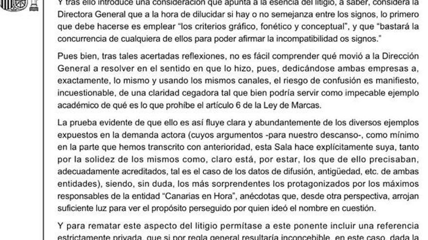 """Extracto de la sentencia que anula la marca """"Canarias en Hora""""."""