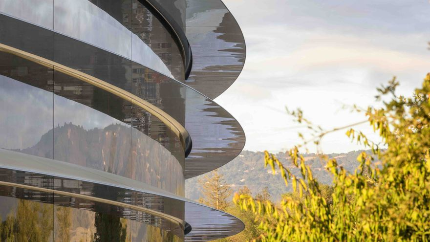 Vista de unos laterales de la nueva sede de Apple donde Tim Cook presentará el nuevo iPhone