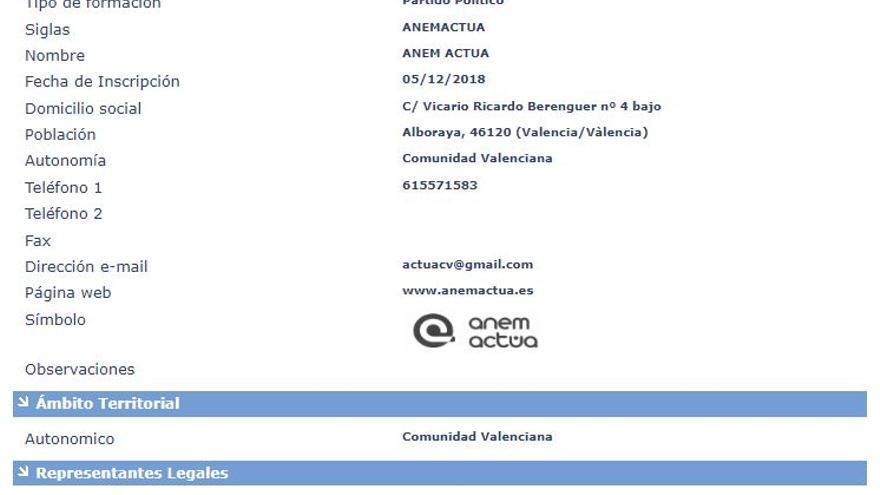 Registro del partido Anem Actúa