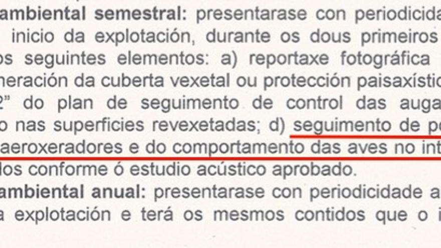 Condiciones impuestas por la Xunta a Norvento en 1999 en la declaración de efectos ambientales con la que le autorizó el parque de Montouto