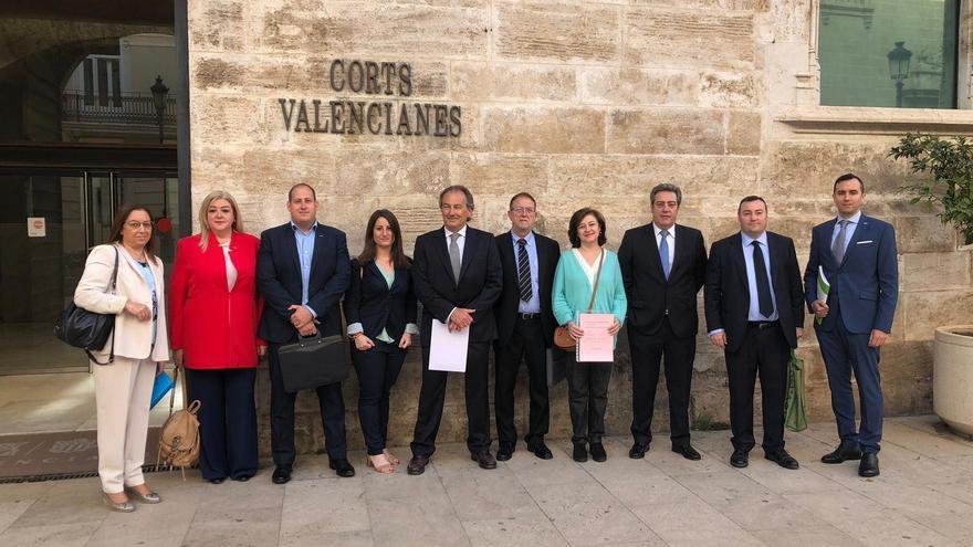 Los diputados autonómicos de Vox con Roglà en el centro de la imagen (quinto por la derecha)