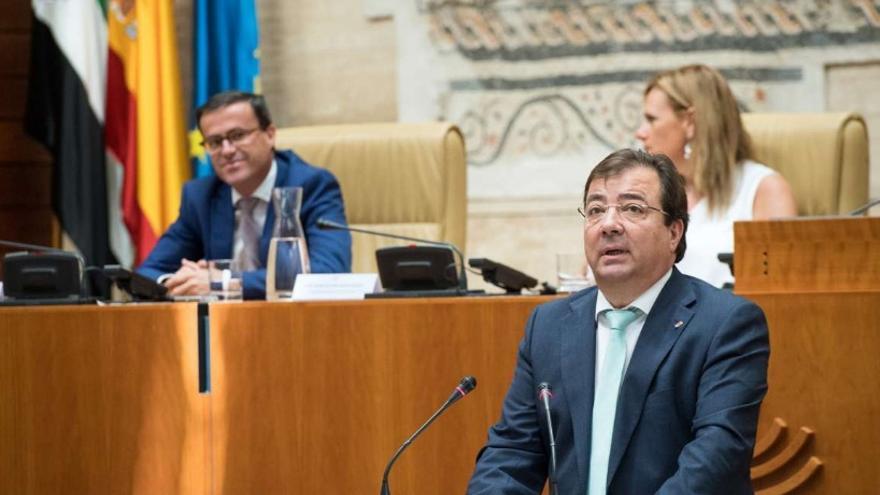 El presidente de la Junta de Extremadura, Guillermo Fernández Vara, en el acto institucional del Día de Extremadura