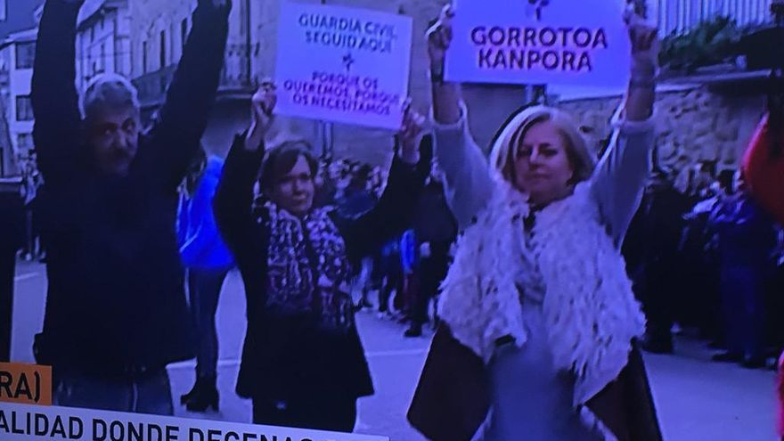 Captura de la cobertura de Cuatro de la contramanifestación en Alsasua