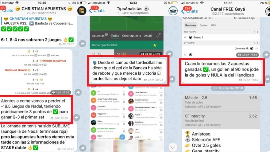 Así anotan algunas de sus apuestas falladas los tipsters de Telegram: con emoticonos verdes para despistar o evitando poner una cruz roja.