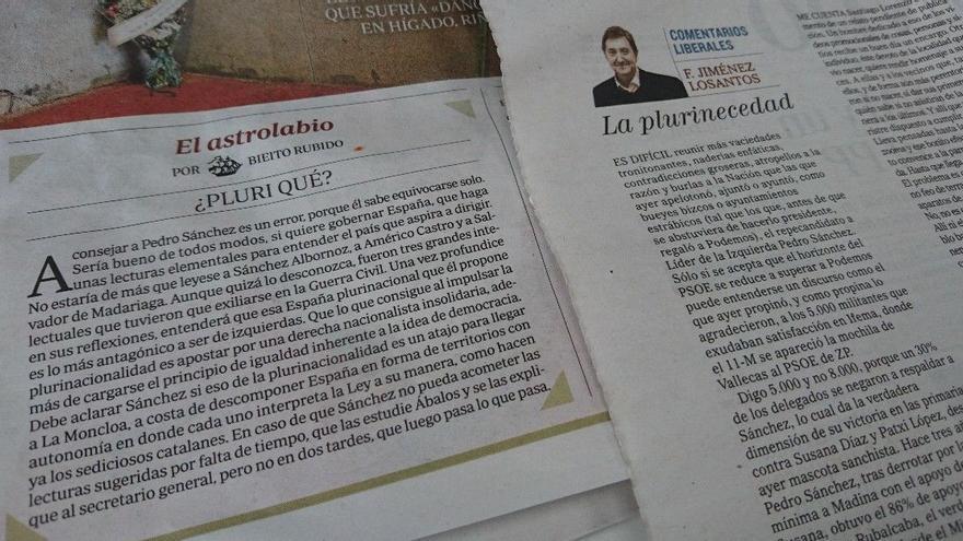Los artículos de Bieito Rubido y Federico Jiménez Losantos sobre la plurinacionalidad del PSOE