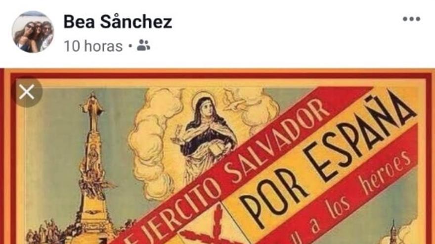 Publicación de Beatriz Sánchez en Facebook