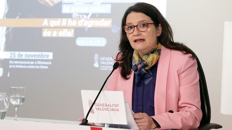 Mónica Oltra, durante la rueda de prensa tras el pleno del Consell
