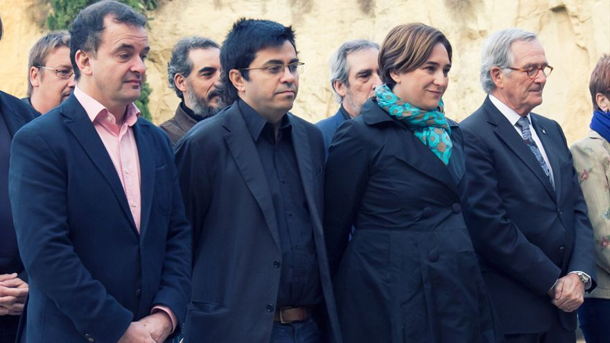 Alfred Bosch, Gerardo Pisarello, Ada Colau i Xavier Trias en un homenatge a Lluís Companys