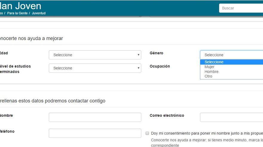Formulario de inscripción al Plan Joven del Ayuntamiento de Zaragoza donde ya se incluye el tercer género.