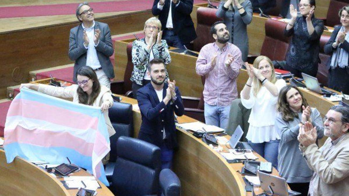 La bancada progresista en las Corts Valencianes tras la aprobación de la ley trans.