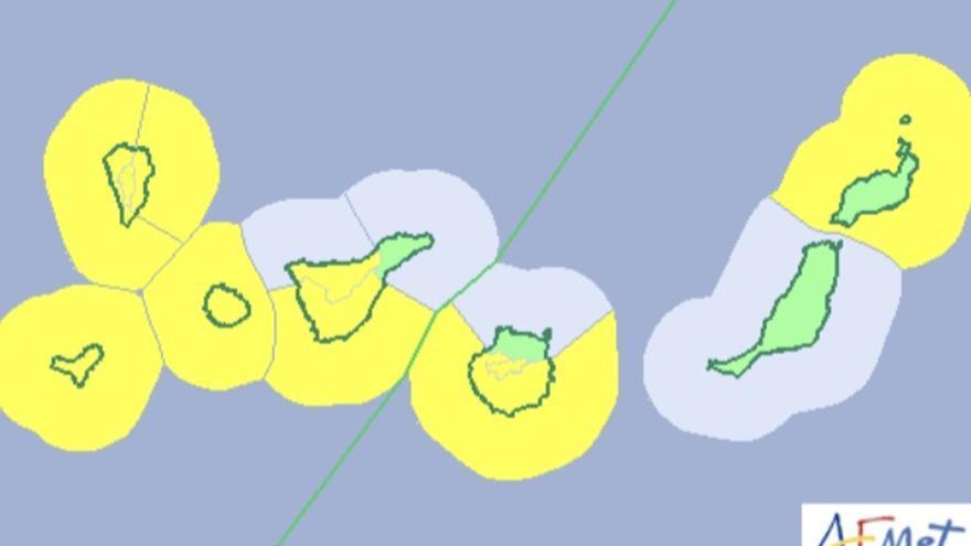 Mapa de la Aemet del aviso de riesgo por viento y fenómeno costero para el fin de semana.