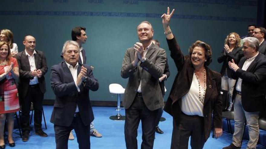 Alfonso Rus, Alberto Fabra y Rita Barberá en el acto del PP en Xàtiva