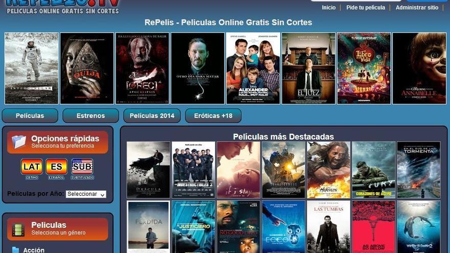 Captura de la web Repelis antes de su bloqueo