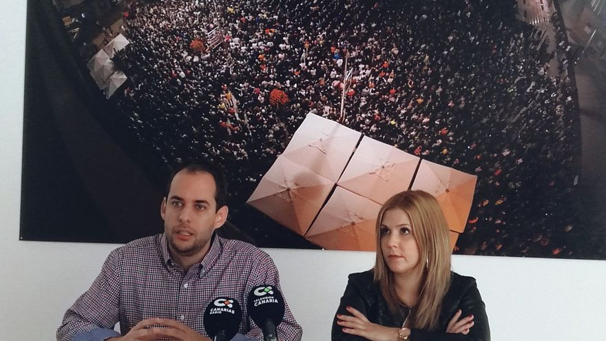 Los consejeros de Podemos en el Cabildo de Gran Canaria Miguel Montero e Ylenia Pulido