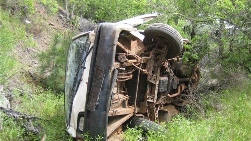 En la imagen, estado en que quedó el vehículo tras salirse de la pista.