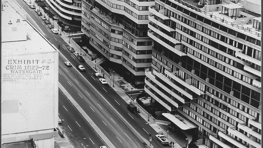 Foto de los edificios Watergate en Washington presentada como prueba en la investigación de la Cámara de Representantes.