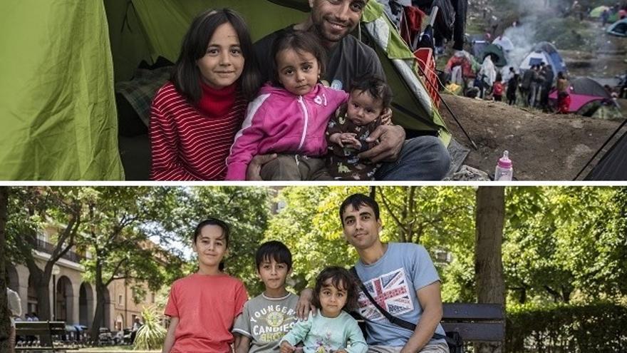 Arriba, Nefi y su familia en el cmapamento de Idomeni en marzo de 2016. Abajo, en Zaragoza, en verano de 2016 después de la reubicación desde Grecia. | Fotografías de Olmo Calvo