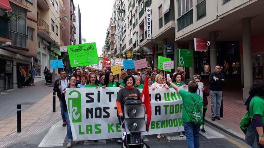 La manifestación de las camareras de hotel en Benidorm, este martes Primero de Mayo.