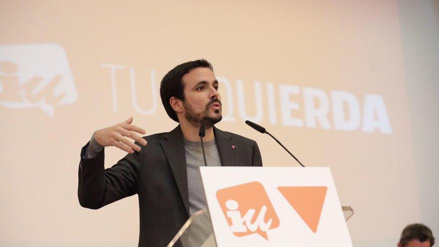El coordinador federal de IU, Alberto Garzón, interviene en la Asamblea Político y Social de IU, el 22 de febrero en Madrid.