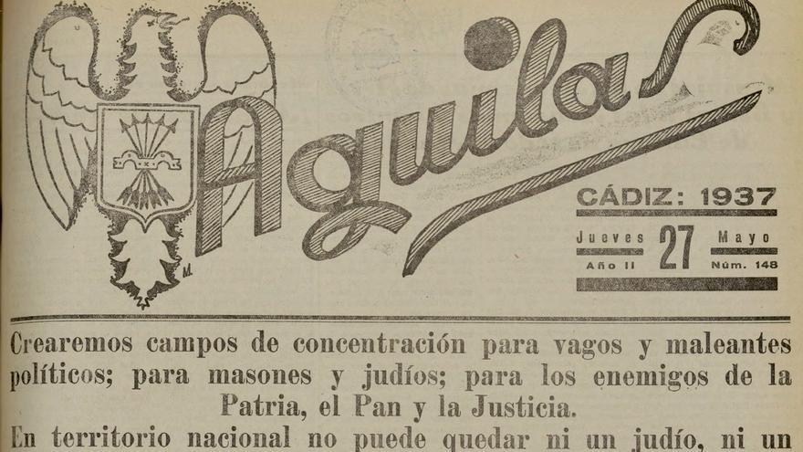 Portada del diario falangista Águilas.